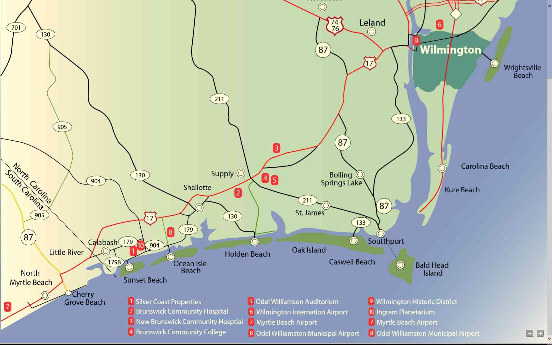 Area map of the brunswick NC coastal Carolina area including